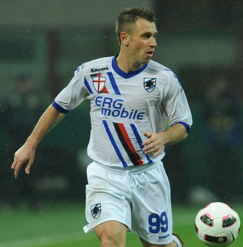 MILAN, ITALY - OCTOBER 24:  Antonio Cassano of UC Sampdoria in action during the Serie A match between FC Internazionale Milano and UC Sampdoria at Stadio Giuseppe Meazza on October 24, 2010 in Milan, Italy.  (Photo by Valerio Pennicino/Getty Images)