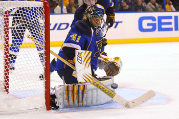 ST. LOUIS - NOVEMBER 4: Jaroslav Halak #41 of the St. Louis Blues makes a save against the San Jose Sharks at the Scottrade Center on November 4, 2010 in St. Louis, Missouri.  The Blues beat the Sharks 2-1.  (Photo by Dilip Vishwanat/Getty Images)