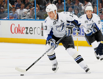 ATLANTA - OCTOBER 22:  Pavel Kubina #13 of the Tampa Bay Lightning against the Atlanta Thrashers at Philips Arena on October 22, 2010 in Atlanta, Georgia.  (Photo by Kevin C. Cox/Getty Images)