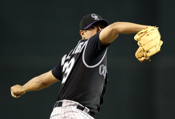 PHOENIX - SEPTEMBER 21:  Starting pitcher Jorge De La Rosa #29 of the Colorado Rockies pitches against the Arizona Diamondbacks during the Major League Baseball game at Chase Field on September 21, 2010 in Phoenix, Arizona.  (Photo by Christian Petersen/G