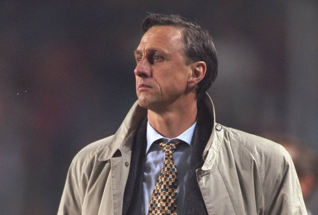 18 Mar 1996:  A portrait of Johan Cryuff the manager of Barcelona.