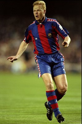 27 Apr 1994:  Ronald Koeman of Barcelona in action during the European Cup Semi-Final match against Porto played in the Nou Camp Stadium in Barcelona, Spain.  The match finished in a 3-0 win for Barcelona. \ Mandatory Credit: Shaun Botterill /Allsport
