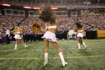MINNEAPOLIS - NOVEMBER 07:  Vikings cheerleaders perform in the game between the Arizona Cardinals and the Minnesota Vikings at Hubert H. Humphrey Metrodome on November 7, 2010 in Minneapolis, Minnesota. The Vikings won 27-24 in overtime.  (Photo by Steph