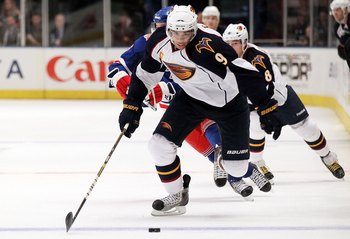 NEW YORK - OCTOBER 27:  Evander Kane #9 of the Atlanta Thrashers against the New York Rangers on October 27, 2010 at Madison Square Garden in New York City. Atlanta defeated the Rangers 6-4.  (Photo by Jim McIsaac/Getty Images)