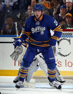 BUFFALO, NY - NOVEMBER 03:  Thomas Vanek #26 of the Buffalo Sabres skates against the Boston Bruins at the HSBC Arena on November 3, 2010 in Buffalo, New York. The Bruins defeated the Sabres 5-2.  (Photo by Bruce Bennett/Getty Images)