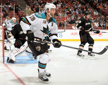 ANAHEIM, CA - SEPTEMBER 22:  Joe Thornton #19 of the San Jose Sharks waits in front of the net against the Anaheim Ducks at Honda Center on September 22, 2010 in Anaheim, California.  (Photo by Harry How/Getty Images)
