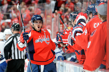 WASHINGTON - NOVEMBER 03:  Alex Ovechkin #8 of the Washington Capitals celebrates a Capitals goal in the third period against the Toronto Maple Leafs at the Verizon Center on November 3, 2010 in Washington, DC.  (Photo by Greg Fiume/Getty Images)