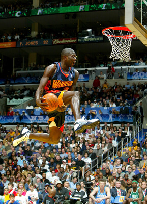 LOS ANGELES - FEBRUARY 14:  Jason Richardson #23 of the Golden State Warriors goes up for a dunk in the first round during the Sprite Rising Stars Slam Dunk Competition, part of the 53rd NBA All-Star weekend on February 14, 2004 at the Staples Center in L