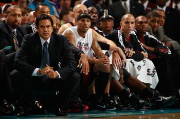 NEW ORLEANS - NOVEMBER 05:  Head coach Erik Spoelstra of the Miami Heat at the New Orleans Arena on November 5, 2010 in New Orleans, Louisiana.  NOTE TO USER: User expressly acknowledges and agrees that, by downloading and/or using this Photograph, User i