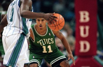 19 Oct 1999:  Dana Barros #11 of the Boston Celtics in action during the game against the Charlotte Hornets at the Charlotte Coliseum in Charlotte, North Carolina. The Hornets defeated the Celtics 120-117.     Mandatory Credit: Craig Jones  /Allsport