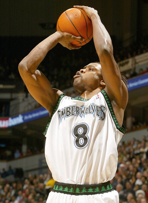 MINNEAPOLIS - DECEMBER 14: Latrell Sprewell #8 of the Minnesota Timberwolves takes a shot against the Portland Trail Blazers on December 14, 2004 at the Target Center in Minneapolis, Minnesota. The Minnesota Timberwolves defeated the Portland Trail Blazer