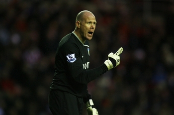 SUNDERLAND, UNITED KINGDOM - JANUARY 17:   Brad Friedel of Aston Villa reacts during the Barclays Premier League match between Sunderland and Aston Villa at The Stadium of Light on January 17, 2009 in Sunderland, England. (Photo by Ian Walton/Getty Images