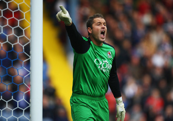 BLACKBURN, ENGLAND - NOVEMBER 06:  Paul Robinson of Blzckburn Rovers in action during the Barclays Premier League match between Blackburn Rovers and Wigan Athletic at Ewood park on November 6, 2010 in Blackburn, England.  (Photo by Matthew Lewis/Getty Ima