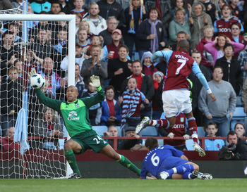 BIRMINGHAM, ENGLAND - AUGUST 29:  Tim Howard of Everton  makes a save from a shot by Ashley Young  of Aston Villa during the Barclays Premier League match between Aston Villa and Everton at Villa Park on August 29, 2010 in Birmingham, England.  (Photo by
