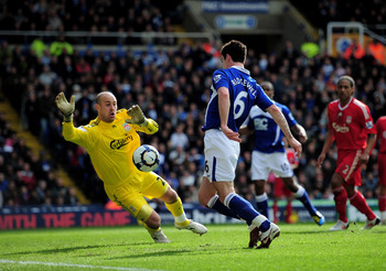 BIRMINGHAM, ENGLAND - APRIL 04:  Liam Ridgewell of Birmingham City scores past Liverpool goalkeeper Pepe Reina during the Barclays Premier League match between Birmingham City and Liverpool at St. Andrews Stadium on April 4, 2010 in Birmingham, England.