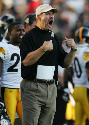 OAKLAND, CA - OCTOBER 29:  Head Coach Bill Cowher of the Pittsburgh Steelers reacts during the NFL game against the Oakland Raiders at McAfee Coliseum October 29, 2006 in Oakland, California.  (Photo by Robert Laberge/Getty Images)