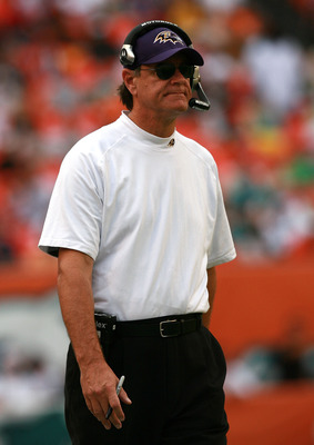 MIAMI - DECEMBER 16:  Head coach Brian Billick of the Baltimore Ravens watches his team take on the Miami Dolphins at Dolphin Stadium on December 16, 2007 in Miami, Florida. The Dolphins defeated the Ravens 22-16 for their first victory of the year.  (Pho