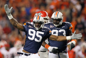 AUBURN, AL - NOVEMBER 13:  Dee Ford #95 of the Auburn Tigers reacts after a defensive stop against the Georgia Bulldogs at Jordan-Hare Stadium on November 13, 2010 in Auburn, Alabama.  (Photo by Kevin C. Cox/Getty Images)