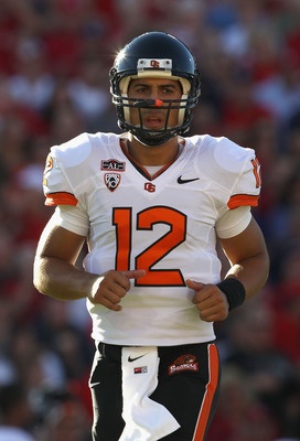 TUCSON, AZ - OCTOBER 09:  Quarterback Ryan Katz #12 of the Oregon State Beavers during the college football game against the Arizona Wildcats at Arizona Stadium on October 9, 2010 in Tucson, Arizona.  The Beavers defeated the Wildcats 29-27.  (Photo by Ch