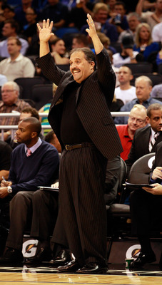 ORLANDO, FL - NOVEMBER 03:  Head coach Stan Van Gundy of the Orlando Magic calls out instructions during the game against the Minnesota Timberwolves at Amway Arena on November 3, 2010 in Orlando, Florida.  NOTE TO USER: User expressly acknowledges and agr