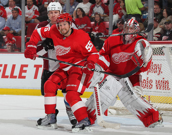 DETROIT,MI - NOVEMBER 13:  Niklas Kronwall #55 of the Detroit Red Wings defends in a game against the Colorado Avalanche on November 13, 2010 at the Joe Louis Arena in Detroit, Michigan. The Wings defeated the Avalanche 3-1. (Photo by Claus Andersen/Getty