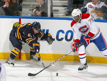BUFFALO, NY - NOVEMBER 05: Tyler Ennis #63 of the Buffalo Sabres fights for puck control with P.K. Subban #76 of the Montreal Canadiens on November 5, 2010 at HSBC Arena in Buffalo, New York.  (Photo by Rick Stewart/Getty Images)