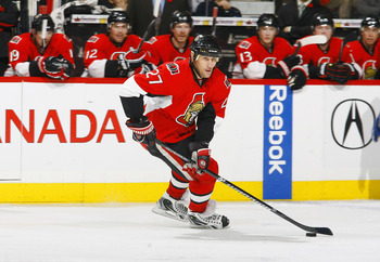 OTTAWA, CANADA - NOVEMBER 11:  Alex Kovalev #27 of the Ottawa Senators skates up ice with the puck during a game against the Vancouver Canucks at Scotiabank Place on November 11, 2010 in Ottawa, Ontario, Canada.  (Photo by Phillip MacCallum/Getty Images)