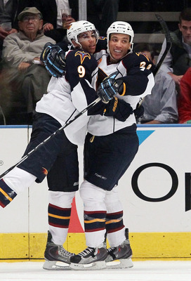 NEW YORK - OCTOBER 27:  Evander Kane #9 of the Atlanta Thrashers celebrates his seond period goal against the New York Rangers with teammate Anthony Stewart #22on October 27, 2010 at Madison Square Garden in New York City.  (Photo by Jim McIsaac/Getty Ima