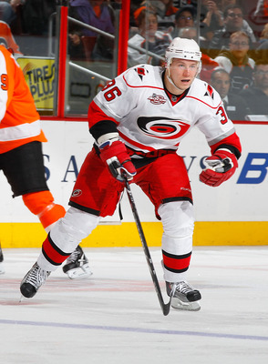 PHILADELPHIA - NOVEMBER 01:  Jussi Jokinen #36 of the Carolina Hurricanes skates against the Philadelphia Flyers on November 1, 2010 at the Wells Fargo Center in Philadelphia, Pennsylvania. Flyers defeat the Hurricanes 3-2.  (Photo by Mike Stobe/Getty Ima
