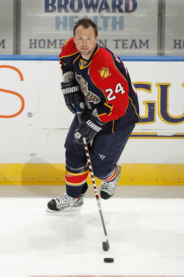 SUNRISE, FL - NOVEMBER 3: Bryan McCabe #24 of the Florida Panthers skates with the puck prior to the game against the Atlanta Thrashers on November 3, 2010 at the BankAtlantic Center in Sunrise, Florida. (Photo by Joel Auerbach/Getty Images)