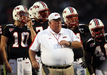 COLLEGE PARK, MD - SEPTEMBER 13:  Head coach Ralph Friedgen of the Maryland Terrapins watches player warm-ups prior to the game against the West Virginia Mountaineers on September 13, 2007 at Byrd Stadium in College Park, Maryland.  (Photo by Jamie Squire