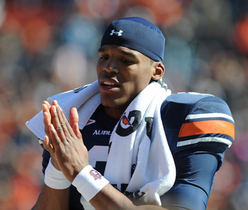 AUBURN, AL - NOVEMBER 06:  Quarterback Cam Newton #2 of the Auburn Tigers plays against the Chattanooga Mocs November 6, 2010 at Jordan-Hare Stadium in Auburn, Alabama.  (Photo by Al Messerschmidt/Getty Images)