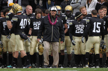 BOULDER, CO - NOVEMBER 13:  Interim head coach Brian Cabral of the Colorado Buffaloes leads his team against the Iowa State Cyclones at Folsom Field on November 13, 2010 in Boulder, Colorado. Cabral earned his first win as he made his debut as interim hea