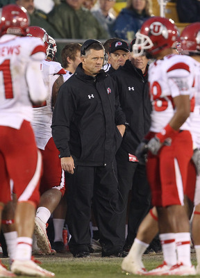 SOUTH BEND, IN - NOVEMBER 13: Head coach Kyle Whittingham of the Utah Utes watches as his team takes on the Notre Dame Fighting Irish at Notre Dame Stadium on November 13, 2010 in South Bend, Indiana. Notre Dame defeated Utah 28-3. (Photo by Jonathan Dani