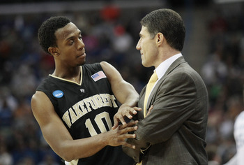NEW ORLEANS - MARCH 20:  Ishmael Smith #10 talks with coach Dino Gaudio of the Wake Forest Demon Deacons during the second round of the 2010 NCAA men's basketball tournament at the New Orleans Arena on March 20, 2010 in New Orleans, Louisiana.  (Photo by