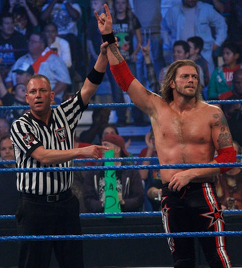 Edge victorious, photo copyright to WWE.com
