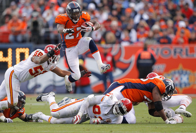 DENVER - OCTOBER 24:  Running back Knowshon Moreno #27 of the Denver Broncos jumps over a pile of defenders and past linebacker Derrick Johnson #56 of the Kansas City Chiefs during the second quarter at INVESCO Field at Mile High on November 14, 2010 in D