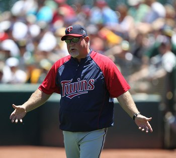 OAKLAND, CA - JUNE 06:  Manager Ron Gardenhire of the Minnesota Twins arues against the Oakland Athletics during an MLB game at the Oakland-Alameda County Coliseum on June 6, 2010 in Oakland, California.  (Photo by Jed Jacobsohn/Getty Images)