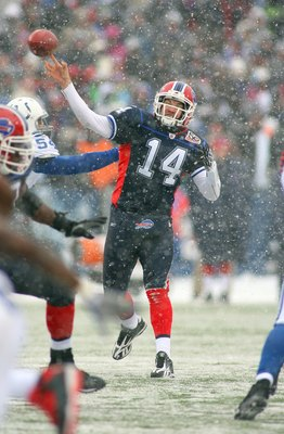 ORCHARD PARK, NY - JANUARY 3: Quarterback Ryan Fitzpatrick #14 of the Buffalo Bills passes the ball during their NFL game against the Indianapolis Colts at Ralph Wilson Stadium on January 3, 2010 in Orchard Park, New York. The Bills defeated the Colts 30-