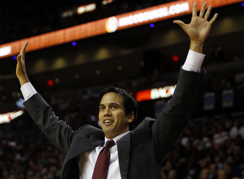 MIAMI - NOVEMBER 13:  Head coach Erik Spoelstra of the Miami Heat against the Toronto Raptors at American Airlines Arena on November 13, 2010 in Miami, Florida. NOTE TO USER: User expressly acknowledges and agrees that, by downloading and or using this ph