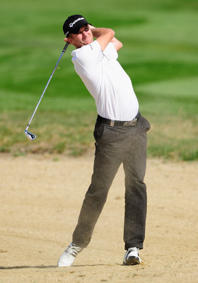 VIENNA, AUSTRIA - SEPTEMBER 19:  David Lynn of England plays his approach shot on the sixth hole the final round of the Austrian golf open presented by Botarin at the Diamond country club on September 19, 2010 in Atzenbrugg near Vienna, Austria.  (Photo b