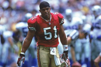 24 Sep 2000:  Ken Norton, Jr. #51 of the San Francisco 49ers walks onto the field during the game against the Dallas Cowboys at the Texas Stadium in Irving, Texas. The 49ers defeated the Cowboys 41-24.Mandatory Credit: Ronald Martinez  /Allsport