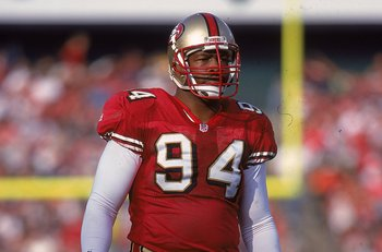 12 Dec 1999:  Charles Haley #94 of the San Francisco 49ers looks on from the field during the game against the Atlanta Falcons at 3 Comm Park in San Francisco, California. The 49ers defeated the Falcons 26-7. Mandatory Credit: Tom Hauck  /Allsport