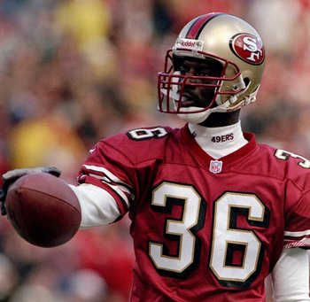 16 Nov 1997:  Running back Merton Hanks of the San Francisco 49ers looks on during a game against the Carolina Panthers at 3Com Park in San Francisco, California.  The 49ers won the game, 27-19. Mandatory Credit: Otto Greule  /Allsport