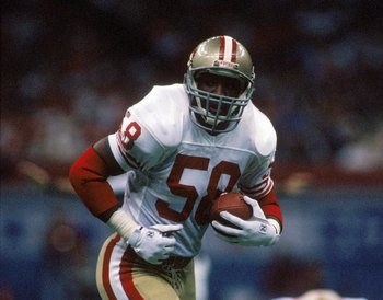 NEW ORLEANS - JANUARY 28:  Linebacker Keena Turner #58 of the San Francisco 49ers runs with the ball in Super Bowl XXIV against the Denver Broncos at Louisiana Superdome on January 28, 1990 in New Orleans, Louisiana.  The 49ers won 55-10.  (Photo by Georg