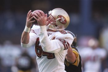 15 Dec 1996:  Tight end Brent Jones of the San Francisco 49ers catches the ball during a game against the Pittsburgh Steelers at Three Rivers Stadium in Pittsburgh, Pennsylvania.  The 49ers won the game 25-15. Mandatory Credit: Al Bello  /Allsport