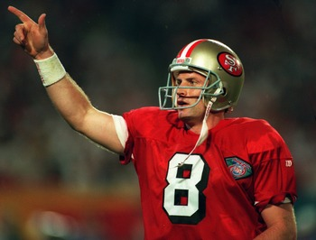 29 Jan 1995: SAN FRANCISCO QUARTERBACK STEVE YOUNG CELEBRATES DURING THE FOURTH QUARTER OF THE SAN FRANCISCO 49ERS VERSUS THE SAN DIEGO CHARGERS IN SUPER BOWL XXIX AT JOE ROBBIE STADIUM IN MIAMI, FLORIDA. YOUNG SET A SUPER BOWL RECORD BY THROWING SIX TOUC