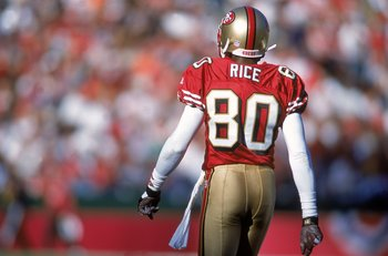 17 Dec 2000:  Jerry Rice #80 of the San Francisco 49ers walks off the field during the game against the Chicago Bears at the 3Com Park in San Francisco, California. The 49ers defeated the Bears 17-0.Mandatory Credit: Jed Jacobsohn  /Allsport