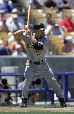 18 Jul 2000:  Jason Kendall #18 of the Pittsburgh Pirates in action at bat during the game against the Los Angeles Dodgers at Dodgers Stadium in Los Angeles, California.  The Pirates defeated the Dodgers 8-6.Mandatory Credit: Jon Ferrey  /Allsport
