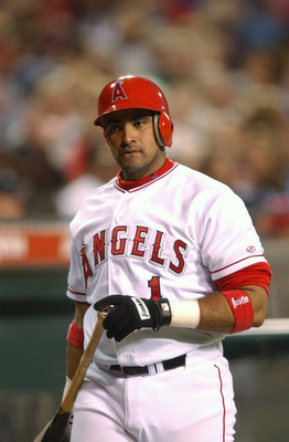 ANAHEIM, CA - MAY 10:  Bengie Molina #1 of the Anaheim Angels holds the bat during the game against the Chicago White Sox at Edison Field in Anaheim, California on May 10, 2002. The Angels won 19-0. (Photo by Harry How/Getty Images)